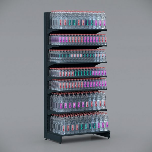 Чорний Стелаж металевий для напоїв, води, соків, соусів, побутової хімії