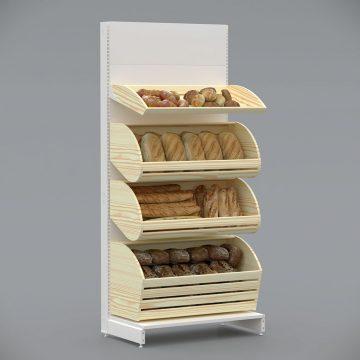 Стелаж металевий в забудові для хліба, булок