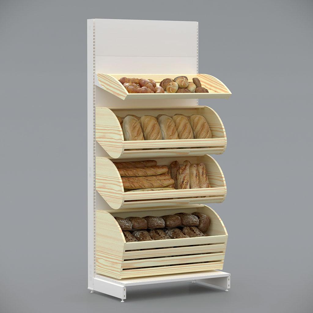 Стелаж металевий в забудові для хліба
