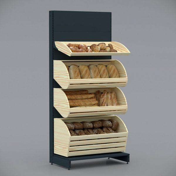 Чорний Стелаж металевий в забудові для хліба, булок